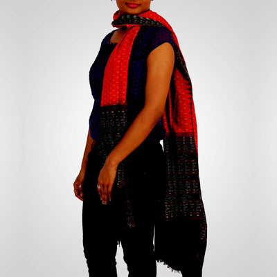 Handwoven Sambalpuri Cotton Dupatta in Alloy Orange and Black