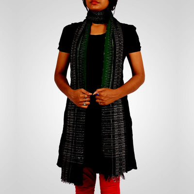 Handwoven Sambalpuri Cotton Dupatta in Green and Black