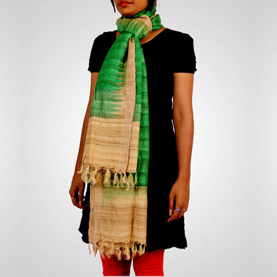 Handwoven Tussar Silk Dupatta in Parrot Green and Offwhite