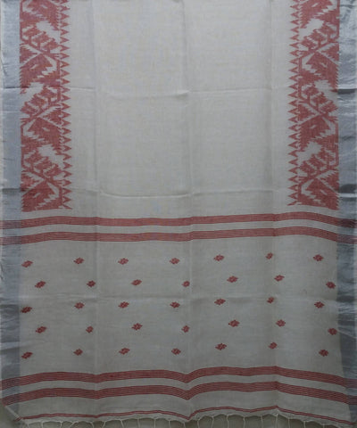 white red handwoven Linen Jamdani Saree