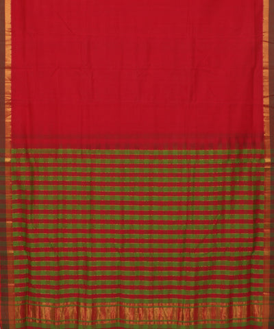Handloom Red Checks Mangalagiri Cotton Saree