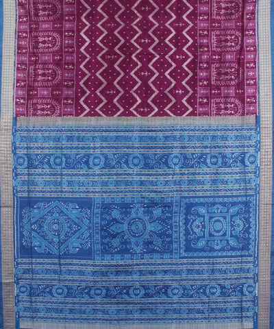 Purple Blue Handwoven SambalpuriSilk Saree