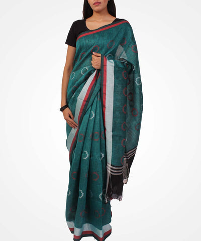 Handwoven Turquoise Green Linen Saree