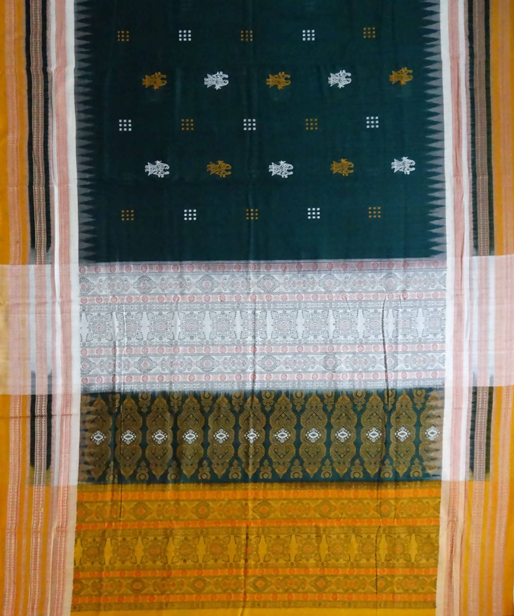 Bottle Green Handloom Bomkai Cotton Saree