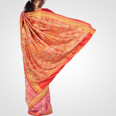 Embroidery Silk Saree in Pink and Maroon