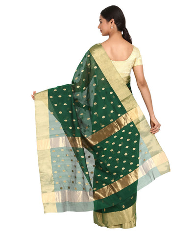 Dark Bottle Green Handwoven Chanderi Saree