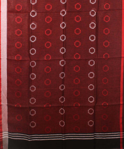 Handwoven Jam Brown Linen Saree