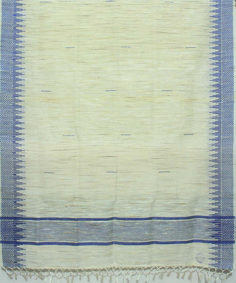 Off White Blue Handwoven Tussar Shawl