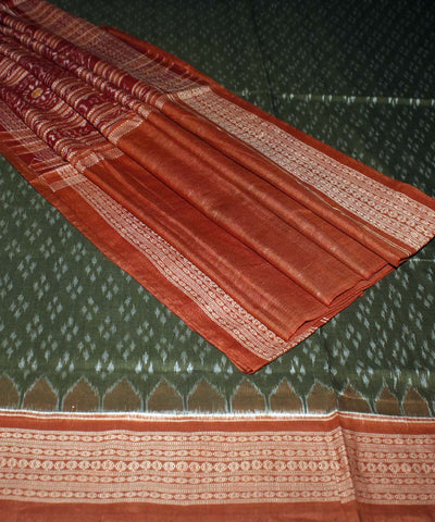 Green Maroon Sambalpuri Cotton Ikat Saree
