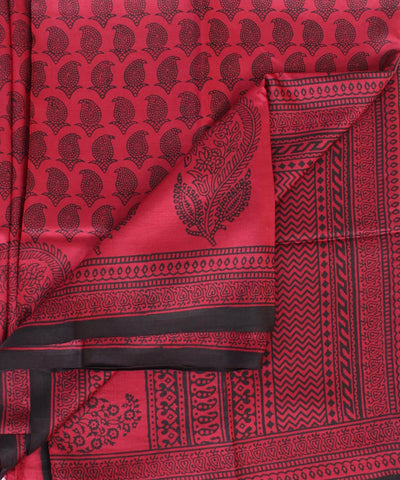 ECOTASAR Red & Black Handwoven Printed Mulberry Saree