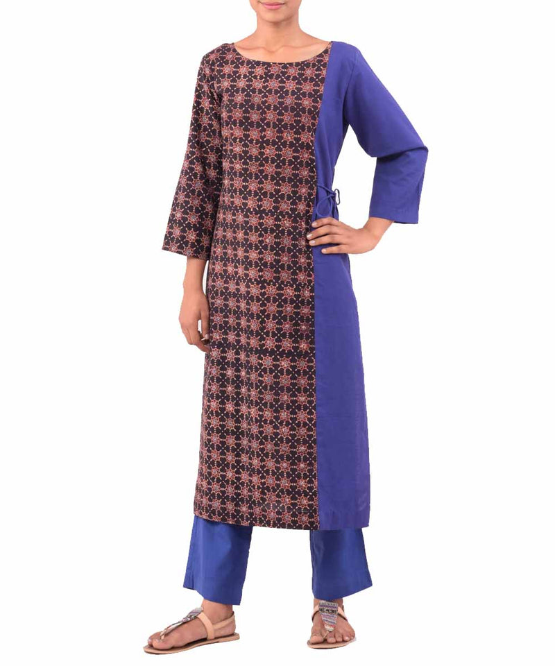 Blue Black and Beige Handwoven Ajrakh Kurti