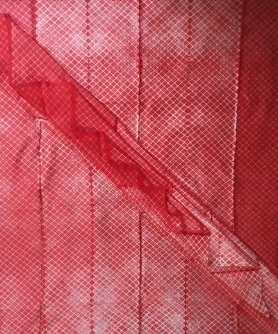 Rose Red Shibori Hand Print Chanderi Kurta Fabric