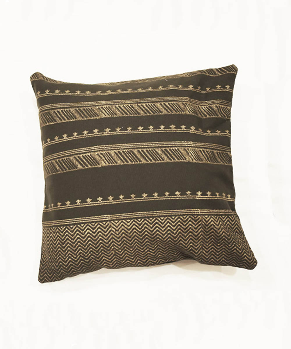 Dark green handblock printing with hand embroidery cushion cover