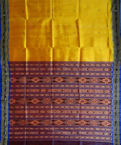 Deep Lemon Nuapatna Ikat Handloom Silk Saree