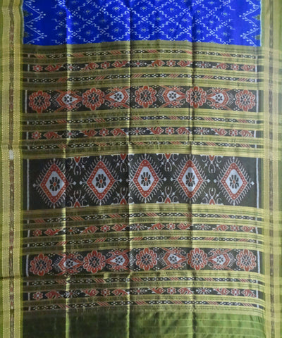Powder Blue Handloom Khandua Ikat Silk Saree