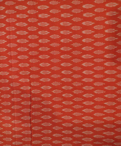 Vermillion red cotton Handwoven Pochampally Ikat Fabric