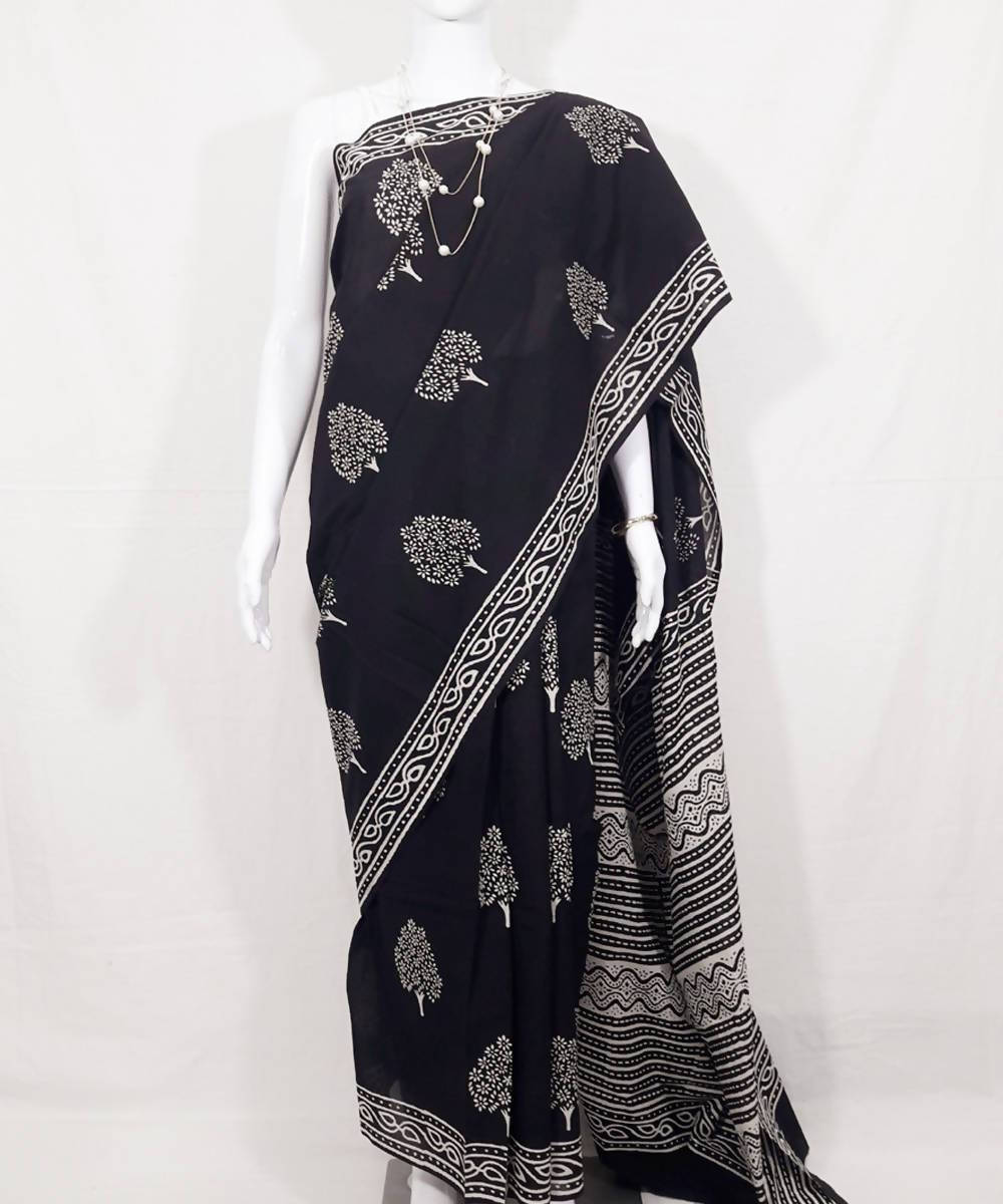 Black white hand printed dabu print cotton saree