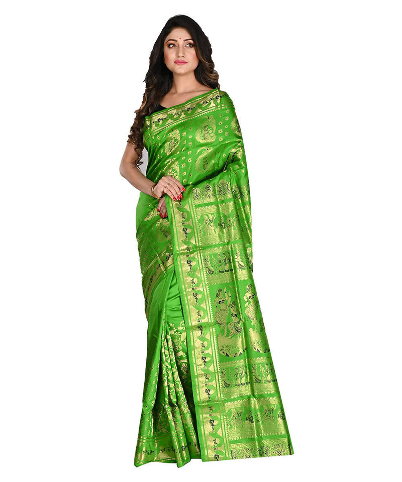 Green Bengal Handloom Baluchari Silk Saree