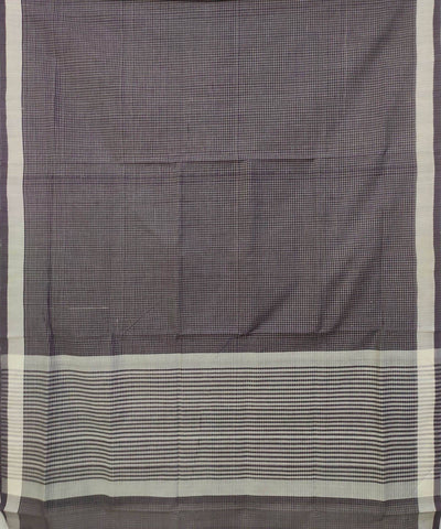Black and kora white Handwoven Cotton small checks saree