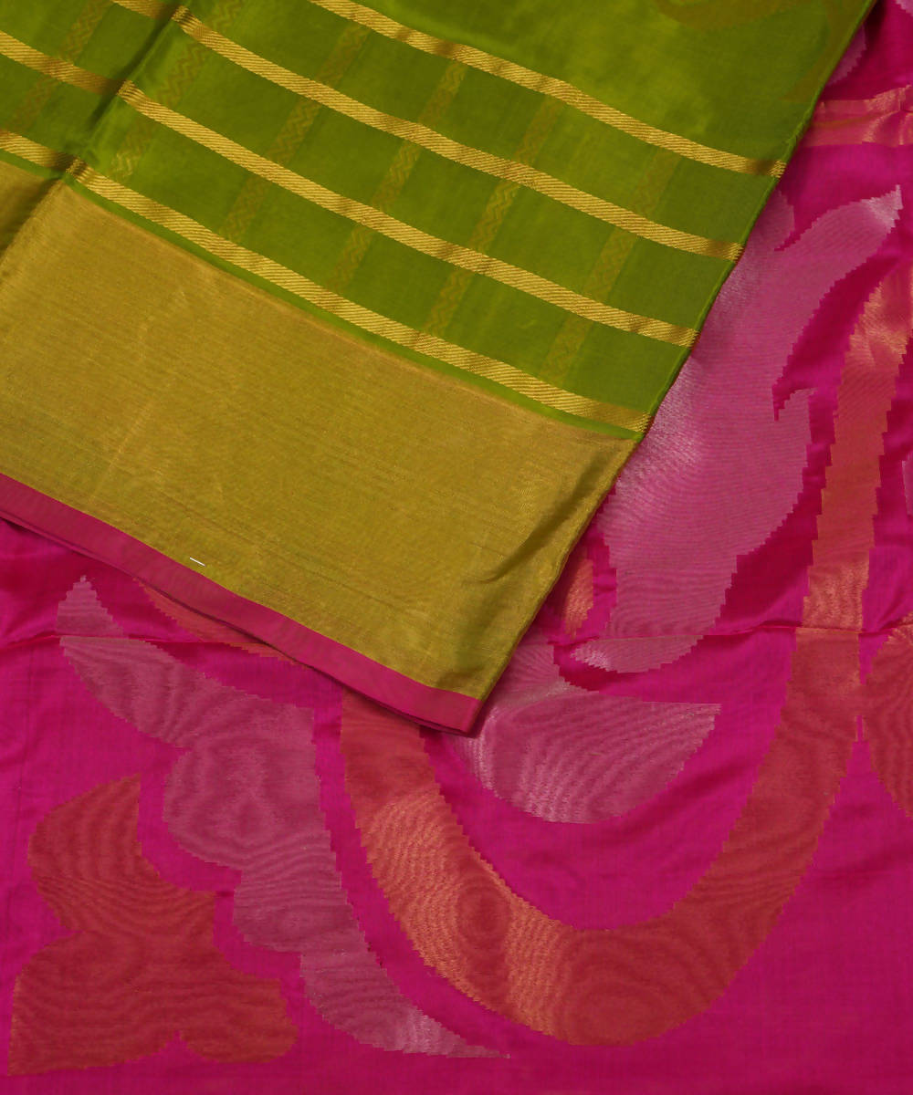 Leaf green Handwoven Venkatagiri Silk Saree