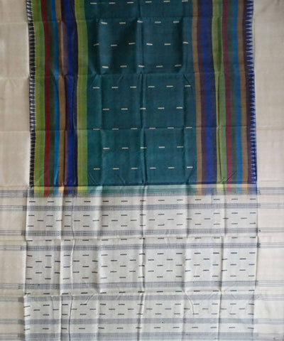 Multi colour tussar Silk Handwoven Saree