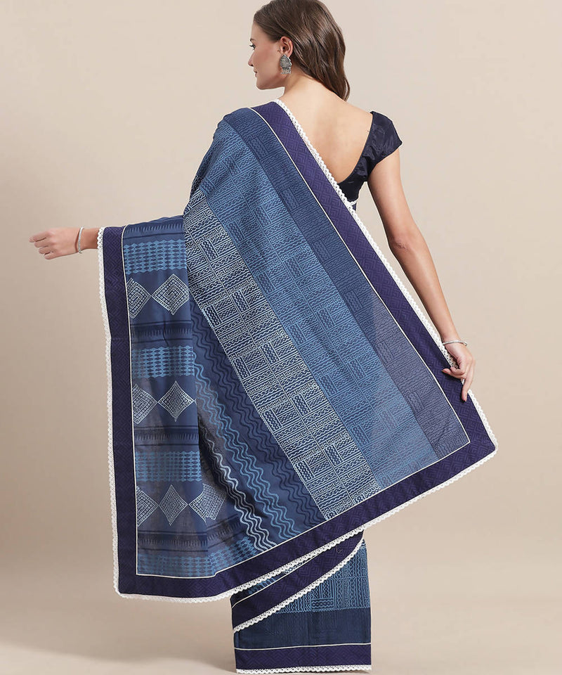 Navy Blue Hand Block Print Cotton Saree