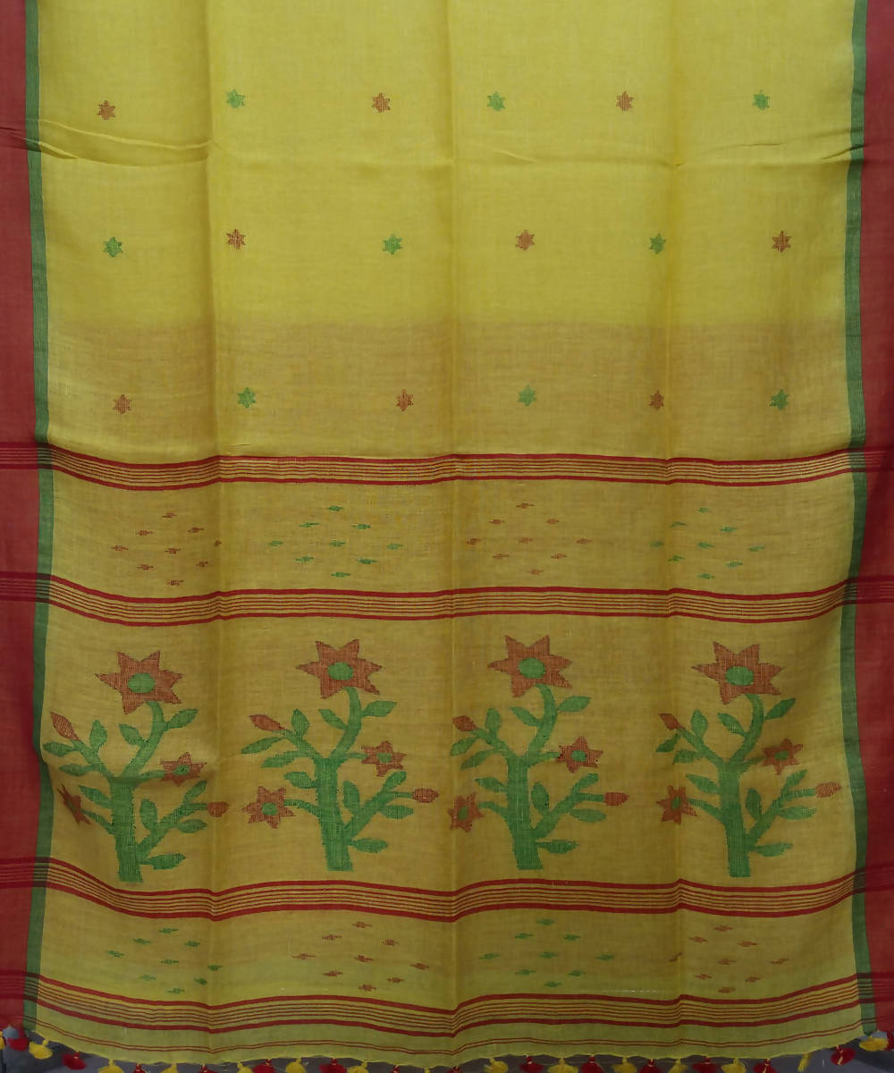 Yellow Handloom Linen Jamdani Bengal Saree