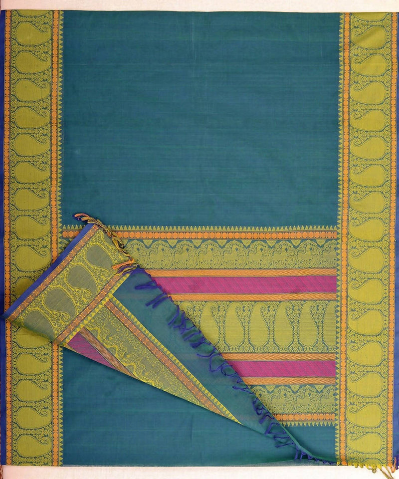 Peacock Blue Handloom Kanchi Cotton Saree