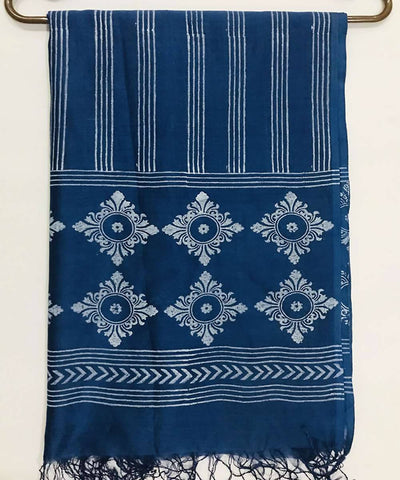 Sky blue and white Hand Block Printed Cotton Silk Dupatta