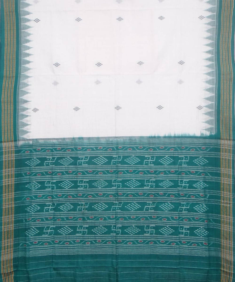 Handwoven offwhite green bomkai cotton saree
