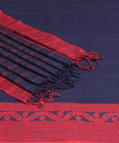Navy and Red Bengal Handwoven Cotton Saree