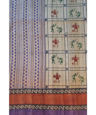 Violet and Maroon Tussar Saree