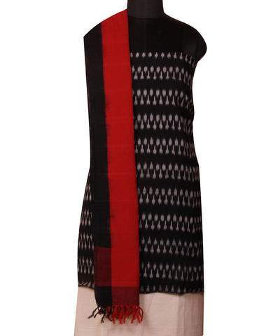 Black Handloom Ikat Cotton Dress Material