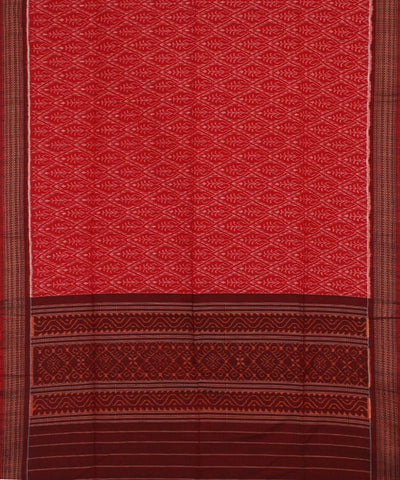 Red Maroon Ikat Handloom Cotton Dupatta