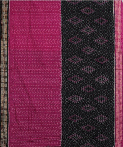 Fuchsia Black Sambalpuri Cotton Ikat Saree