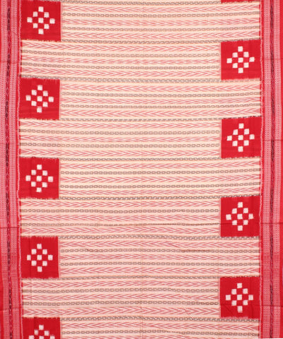 Off White Red Sambalpuri Cotton Ikat Saree
