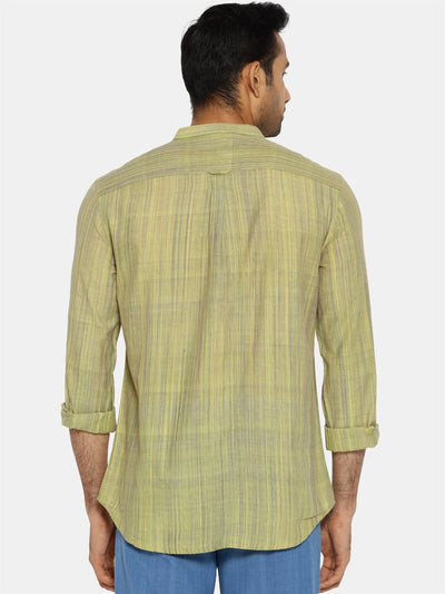Lime green striped mandarin collared shirt