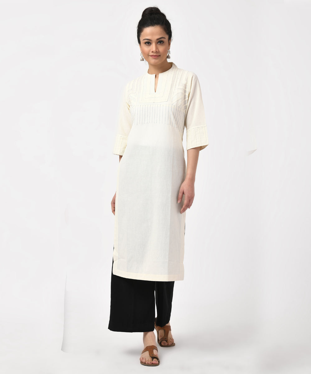 Natural Hand Applique Work Long Cotton Kurti