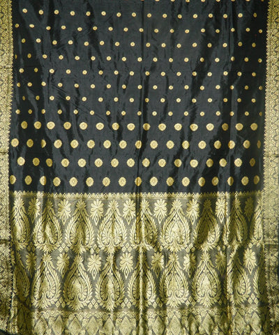 Black Assam Silk Saree