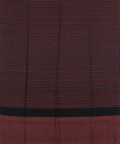 Handwoven Rust And Black Cotton Dupatta