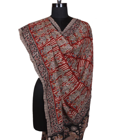 Red Kalamkari Hand Printed Art Silk Dupatta