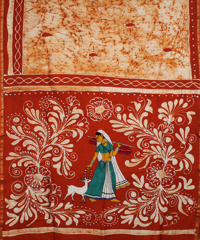 Maheshwari White Orange Batik Printed Saree