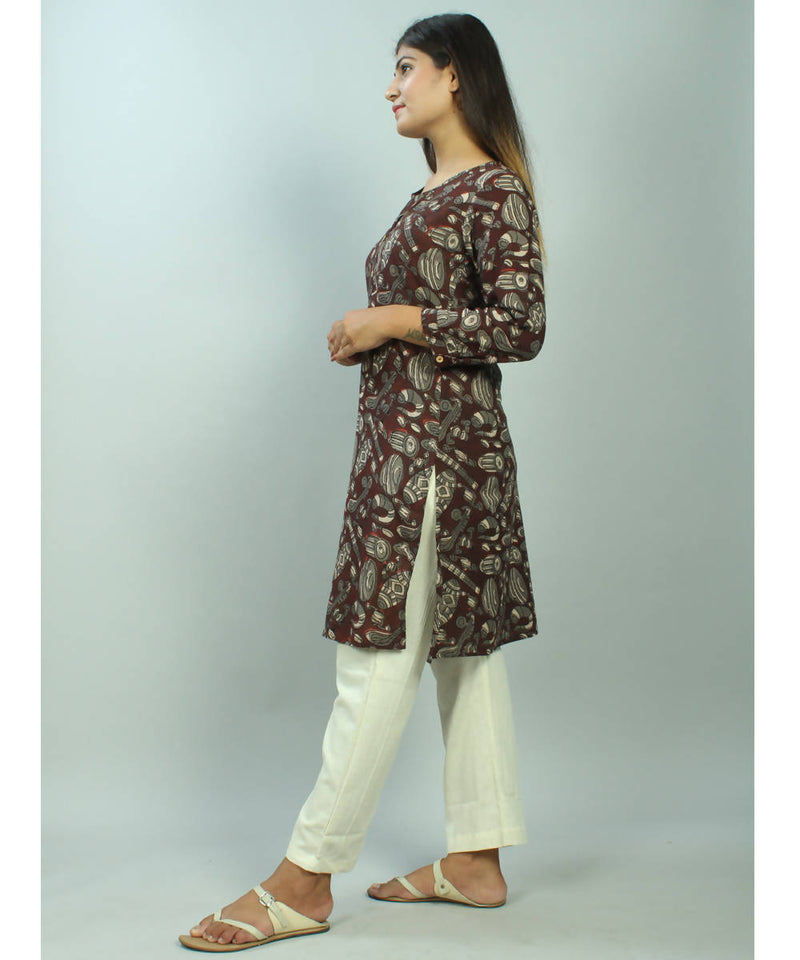 Brown bagru hand block printed cotton kurti