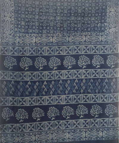 Prussian blue indigo Dabu Handblock Print on Handloom Cotton Saree