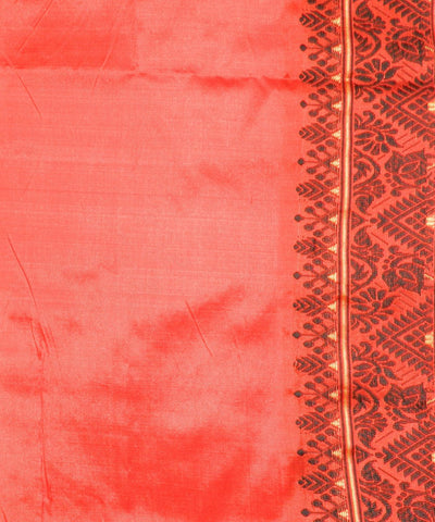 Fire Orange Handwoven Assam Silk Saree