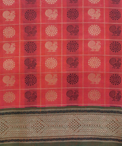Thousand Butta Rose Red Handloom Kanchi Saree