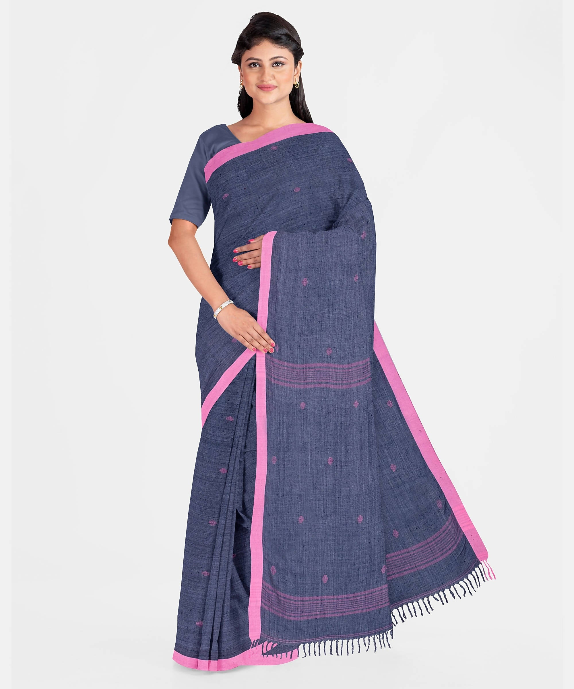 Biswa Bangla Handwoven Cotton-Bamboo Fiber Saree