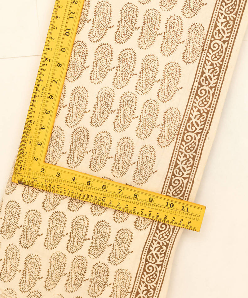 Bagh Hand Printed Cotton White Fabric