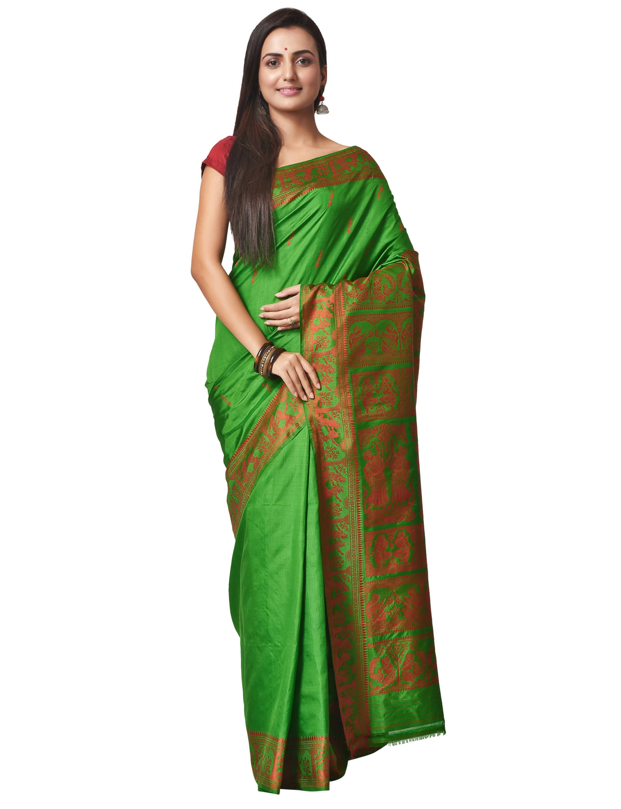 Biswa Bangla Handloom Baluchari Silk Saree - Green and Red