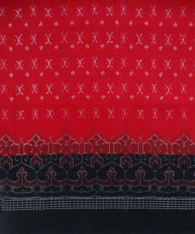 Red Sambalpuri Cotton Handloom Saree